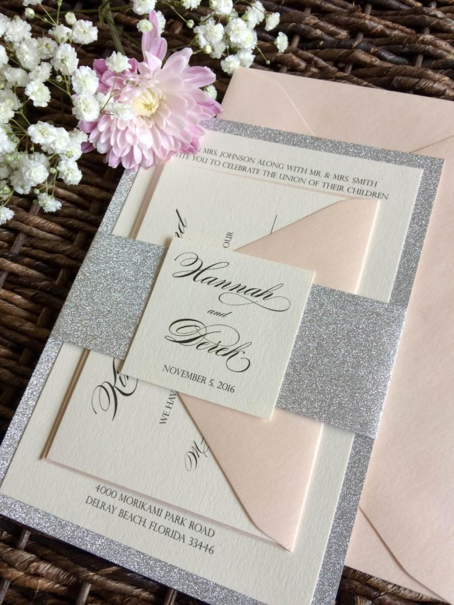 Silver Glitter Wedding Invitation With Glitter Belly Band, Silver ...