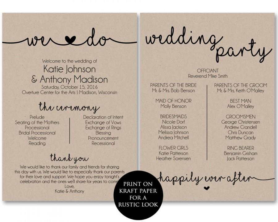 Ceremony Program Template Printable Wedding Programs Pdf
