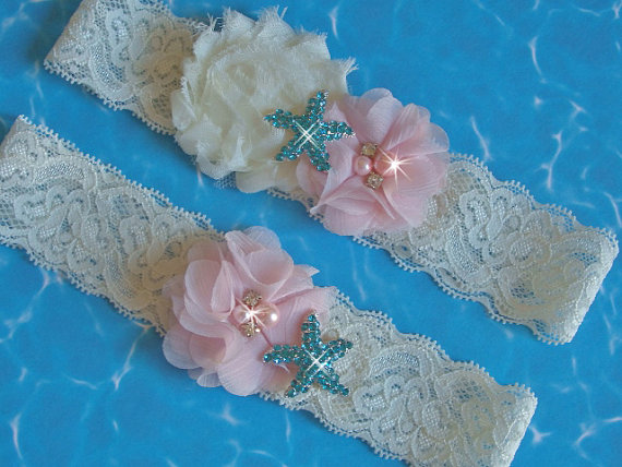 Свадьба - Beach Wedding Garter Set, Destination Wedding Starfish Garter, Something Blue, Toss Garter, Aqua Starfish Garter Set, Blush Bridal Garter
