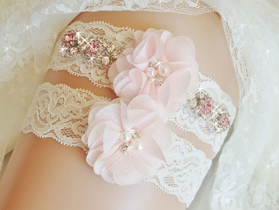 Mariage - Jeweled Wedding Garter Set with Blush Flowers and Rhinestones, Lace Bridal Garter, Garters and Lingerie, Other Birthstones Available