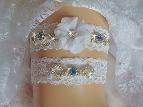 Свадьба - Something Blue Wedding Garter, Ivory or White Lace Bridal Garter Set with Jewels, Sapphire Crystal Rhinestone Garter, Bridal Accessories