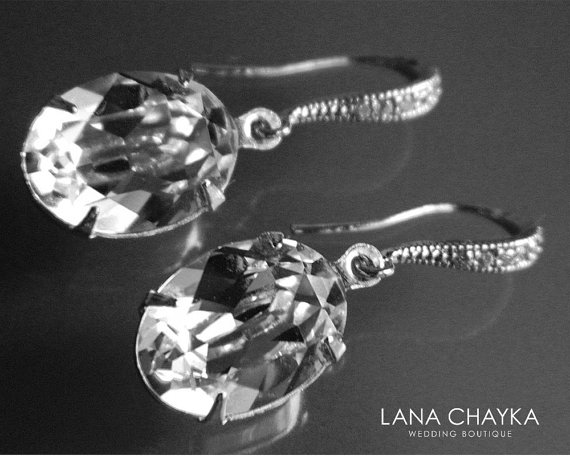 Wedding - Wedding Oval Crystal Earrings Swarovski Rhinestone Earrings Bridal Clear Crystal Earrings Wedding Bridesmaids Crystal Jewelry Dangle Earring