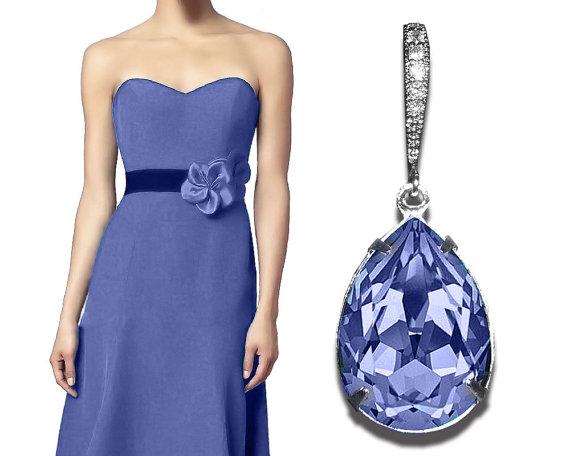 Wedding - Provence Lavender Crystal Earrings Bridesmaid Lavender Teardrop Rhinestone Earrings Swarovski Lavender Earrings Purple Lilac CZ Earring