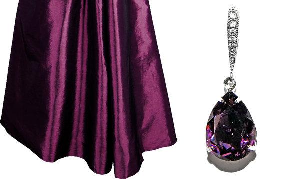 Wedding - Amethyst Crystal Earrings Purple Bridesmaid Earrings Swarovski Rhinestone Teardrop Earrings Sterling Silver Purple Earrings Wedding Jewelry