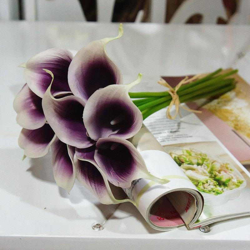 Boda - 18 stems picasso calla lily bouquet for bridal bridesmaids bouquet fake flowers