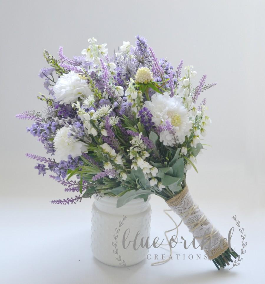 زفاف - Wildflower Bridal Bouquet - Rustic Bouquet, Lavender Wildflower Bouquet, Shabby Chic Bouquet, Bridal Bouquet, Boho Bouquet