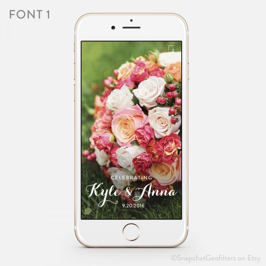 Wedding - Classic & Clean Snapchat Wedding Geofilter Personalized Custom On-Demand Geo Filter Elegant Simple Romantic Customized Names