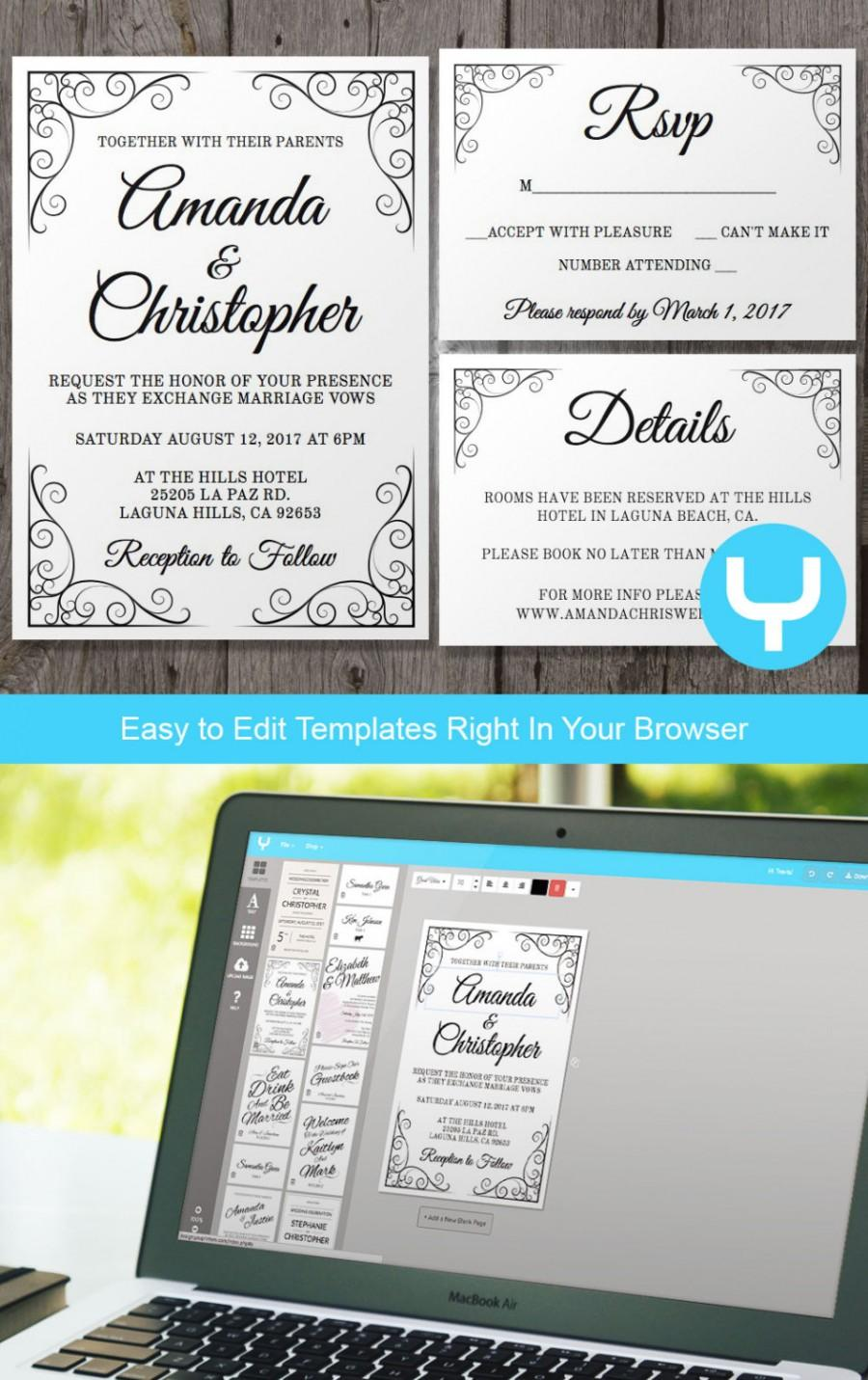 Vintage Printable Wedding Invitation Rsvp Template You Change