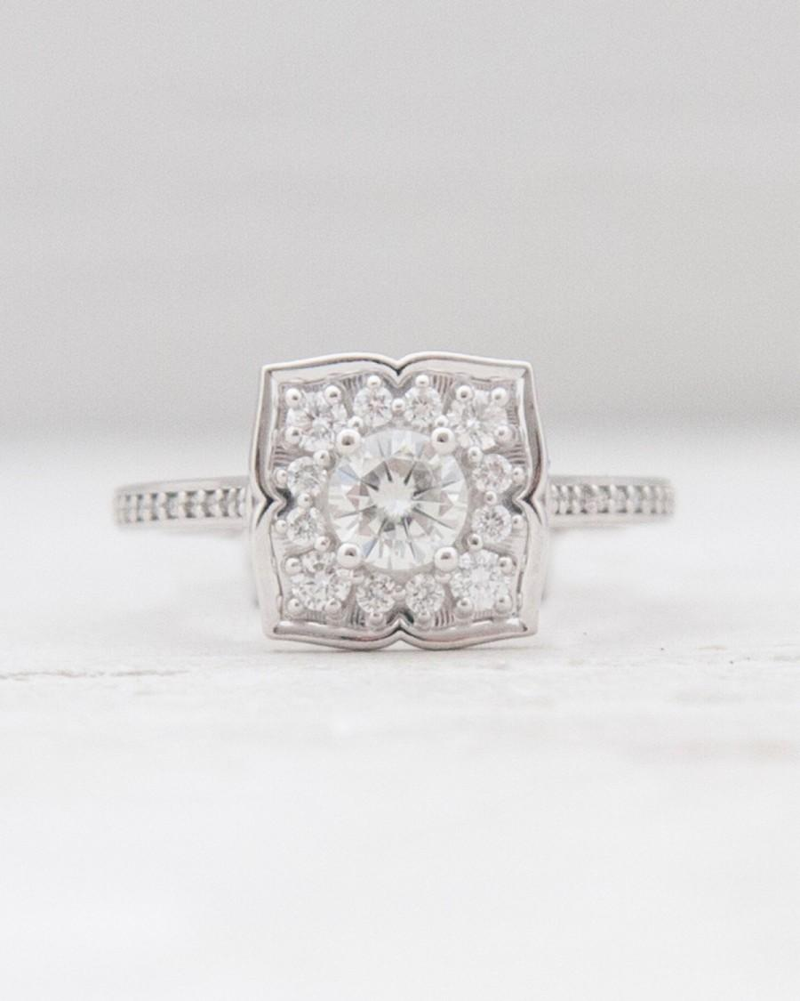 Hochzeit - 14k White Gold Vintage Inspired Art Deco Round Forever Brilliant Moissanite Flower Leaf Halo Princess EngagementEngagement Wedding Ring