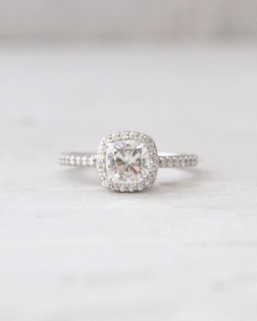 Свадьба - Palladium Antique Square Forever Brilliant Moissanite Conflict Free Diamond Halo Engagement Wedding Ring