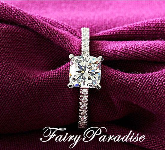 Hochzeit - Classic 1 Carat Cushion Cut (6 mm) Man Made Diamond Solitaire Engagement Ring / Promise Rings Pave Band, Free Gift Box ( Fairy Paradise )