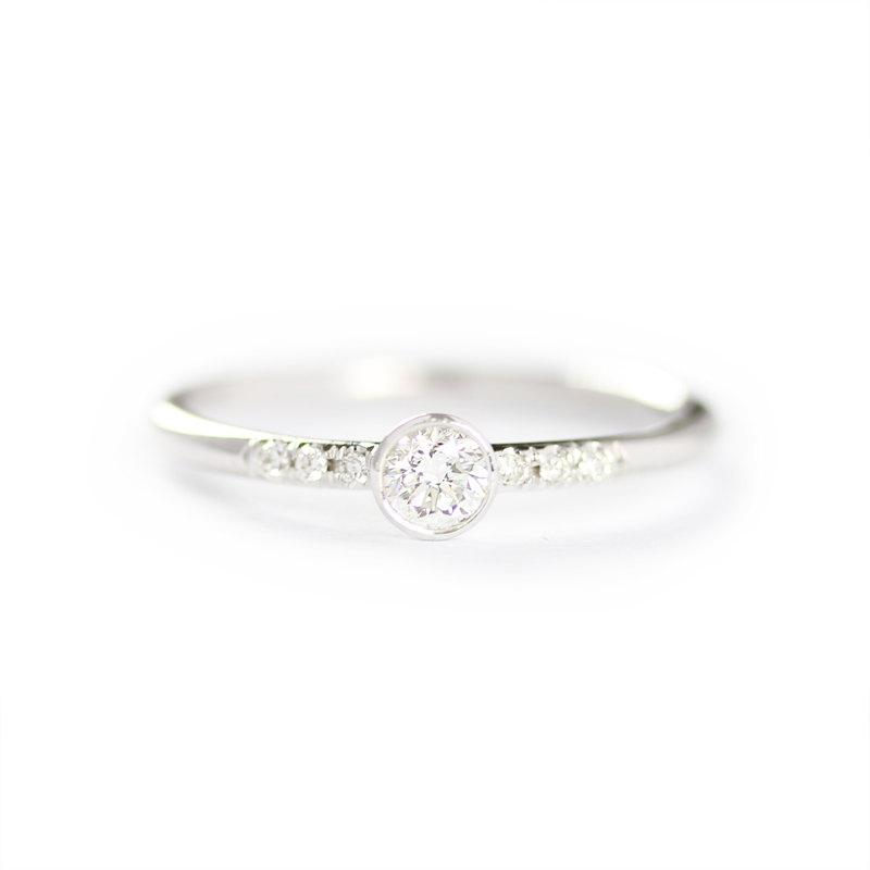 Hochzeit - 14k Solid White Gold 0.15ct Diamond Engagement Ring ,Simple Engagement Ring,Stacking Diamond Gold Ring-Conflict Free