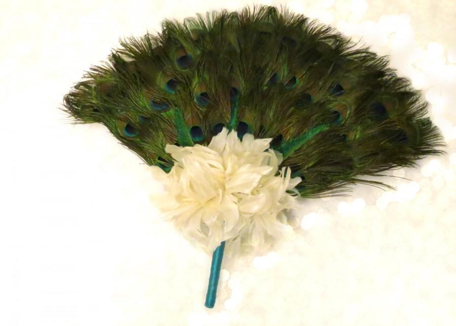 01707bcf6a Peacock Feather Fan Bridal Bouquet - Peacock Collection - Peacock Wedding -  Alternative Wedding Flowers