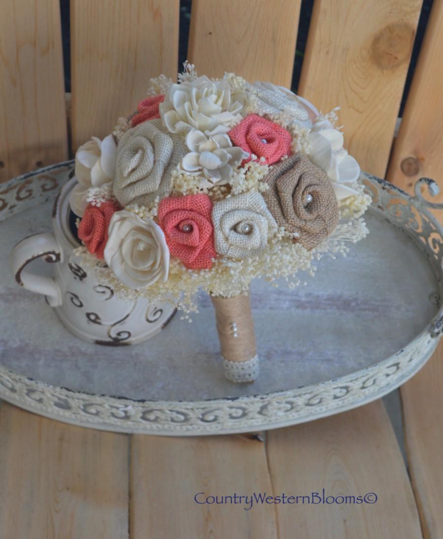 زفاف - Coral Burlap Bouquet, Rustic Burlap Bouquet, Sola Flower Bouquet, Bridal Bouquet, Wedding Bouquet