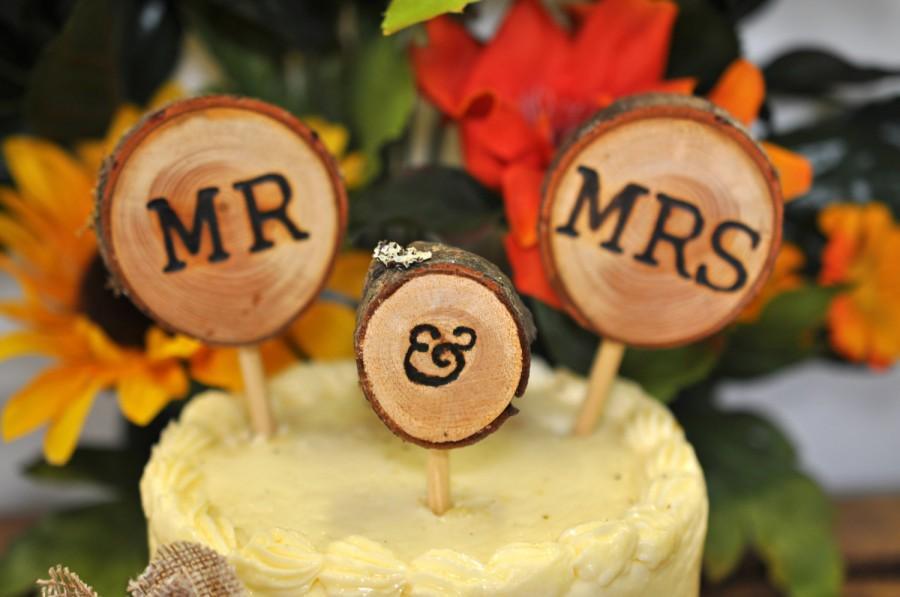 زفاف - Rustic Wedding Cake Toppers Wedding Cake Decorations Rustic Decorations Wood Slices Woodland Wedding  mr and mrs Cake Toppers