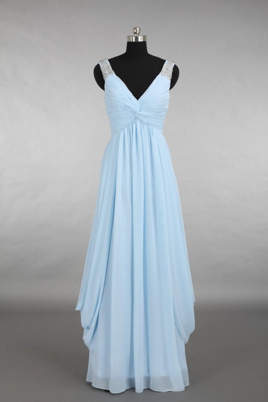 زفاف - Prom Dress 2015, V-neck Beading Floor-length Chiffon Prom Dress 2015