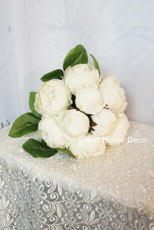 Jennysflowershop 12 Silk Peony Artificial Flower Bouquet Wedding