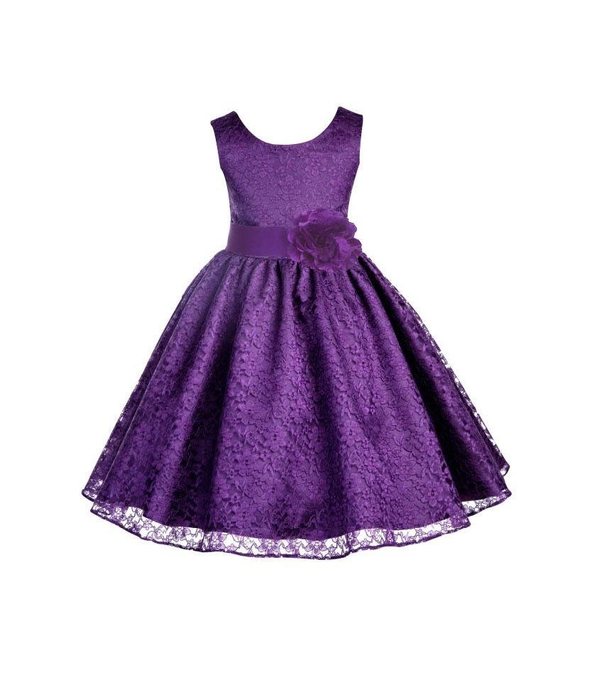 532bc09961295 Wedding Floral Lace Overlay purple flower girl dress toddler Princess  children tulle bridesmaid toddler size 6-9m 12-18m 2 4 6 8 10 12