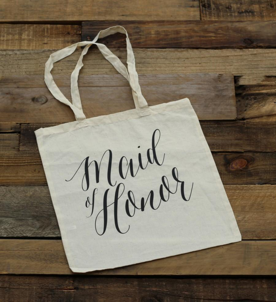 Mariage - Maid of Honor Tote Bag - Natural Canvas - MOH Gift, Maid of Honor Gift, Wedding Tote Bags, Bridal Party Gift, Bridesmaid Gifts Totes