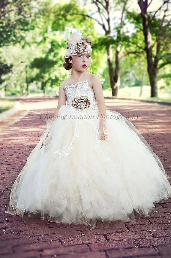 47b5afe15 Flower Girl Dress, Vintage Flower Girl Tutu Dress, Ivory And Lace ...