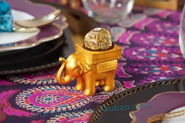 Свадьба - #婚禮 #宴會 #留言卡夾 #喜糖盒 BETER-SZ054創意婚禮小物 印度幸運大象燭臺回禮