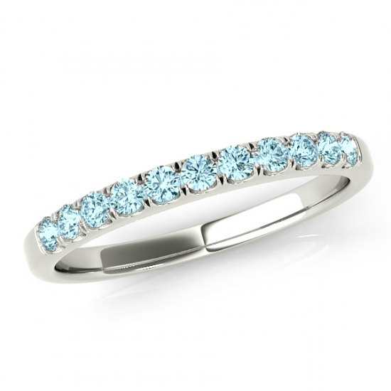 Aquamarine Wedding Band 14k White Gold 18k Or Platinum