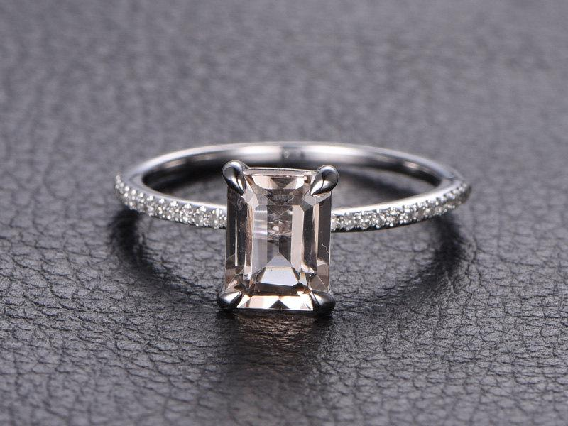 emerald cut morganite ring morganite engagement ring