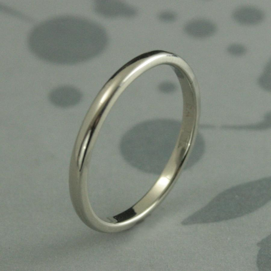 Womens Gold Wedding BandSubstantial 14K Gold 2mm Rounded