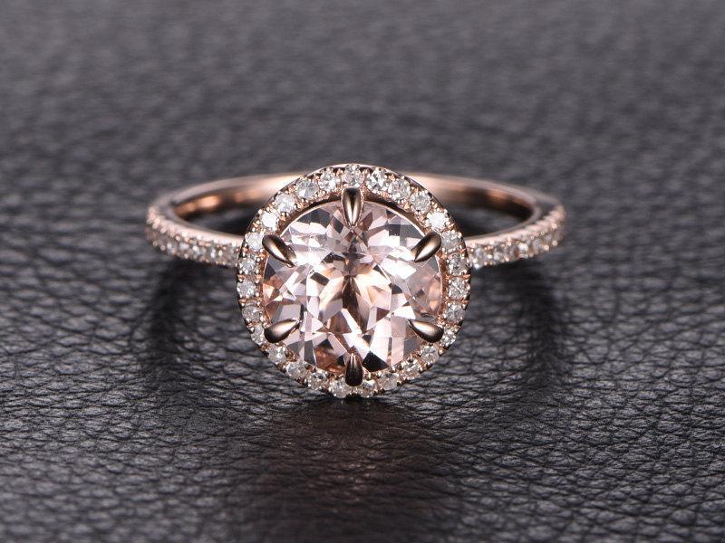 Свадьба - 8mmRound Pink Morganite Ring 14K Rose Gold Morganite Engagement Ring Pave Diamond Wedding Band Halo Diamond Engagement Ring 6-Prong Set Ring