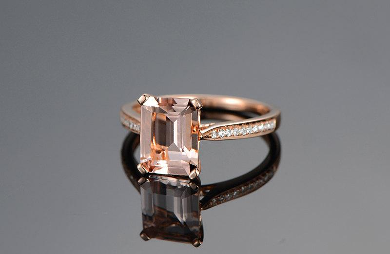 Свадьба - Emerald Cut Morganite Ring 14K Rose Gold Morganite Engagement Wedding Ring Diamonds Pave Engagement Ring Valentine Gift for Her