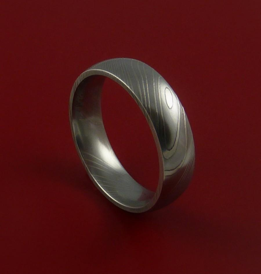 Свадьба - Damascus Steel Ring Wedding Band Dome Style Genuine Craftsmanship