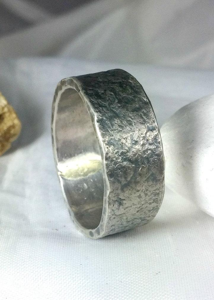 Свадьба - Men's Rugged Silver Wedding Band, unisex jewelry, 8 mm  recycled silver band, wedding ring