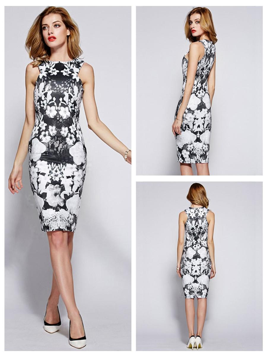 Wedding - Black & White Floral Print Sleeveless Sheath Dress