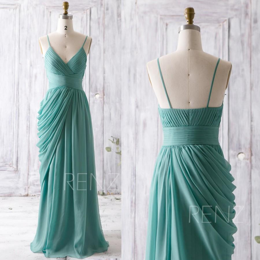 2016 teal bridesmaid dress long draped wedding dress v for Teal dress for wedding