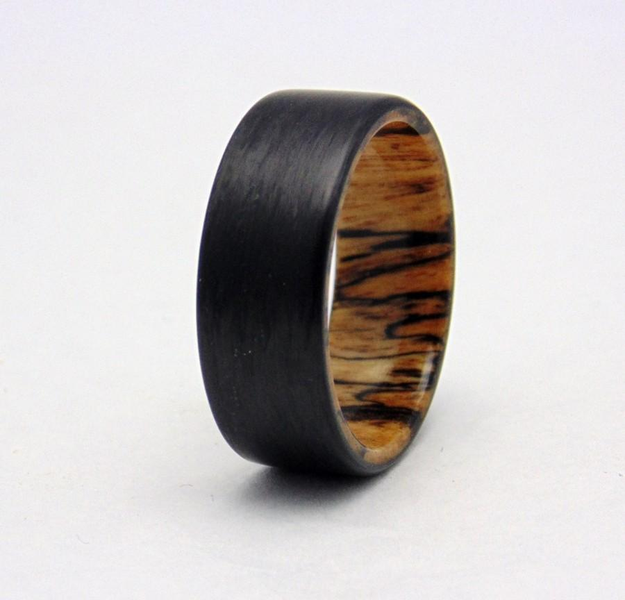 Wedding - Carbon fiber and Spalted Tamarind  wedding band, Handmade carbon fiber ring