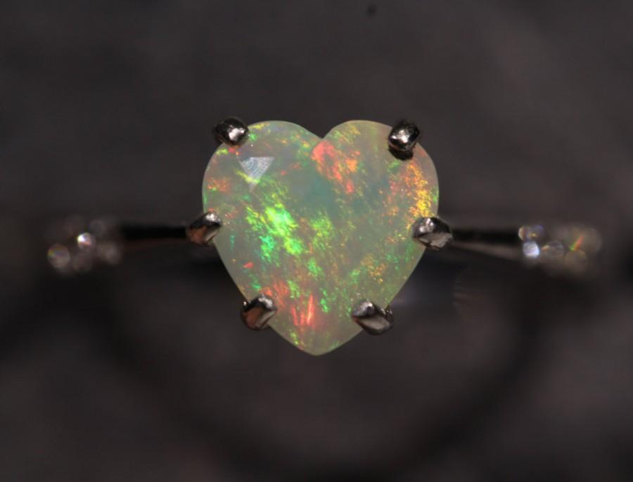 Wedding - Natural Ethiopian Opal Heart Ring - 14k White Gold Ring w/ Diamond Accents - Size 6  #1282