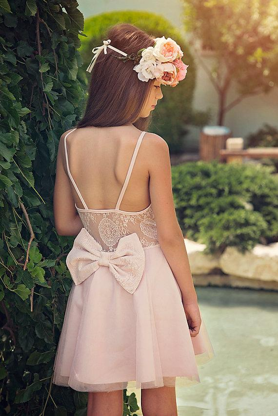 Wedding - Blush Lace Flower Girl Dress, Junior Bridesmaid Dress, Special Occasion Dress, Wedding Dress, Blush Lace Dress