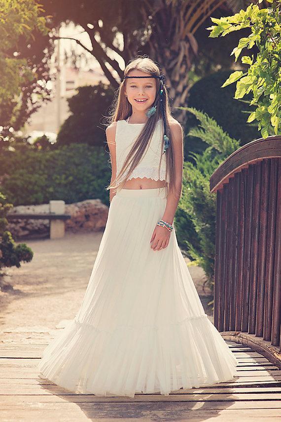 Boho-chic Flower Girl Dress//Boho Girls Outfit //Junior Bridesmaid Dress //Boho Skirt And Top ...