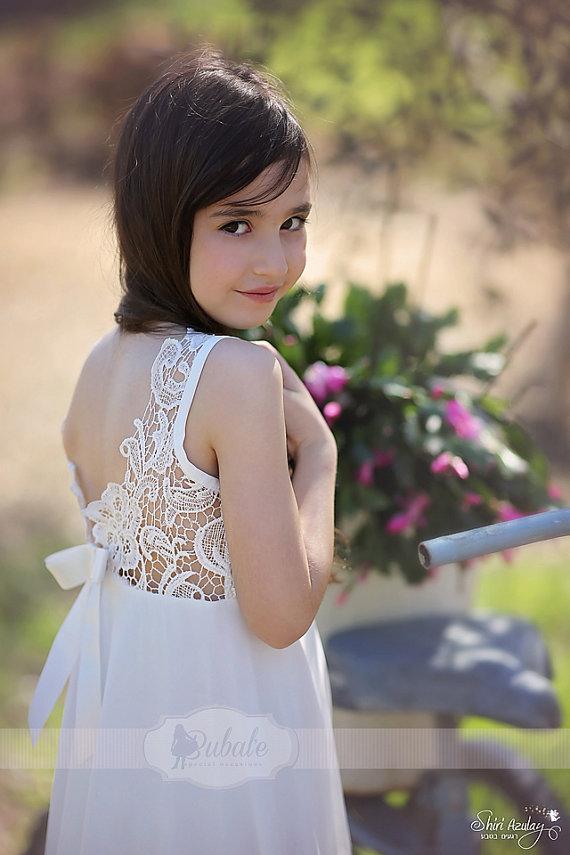 Mariage - Wedding Ivory Lace Flower Girl Dress, Floor Length Lace Flower Girl Dress, Party Dress, Jr. Bridesmaid Dress
