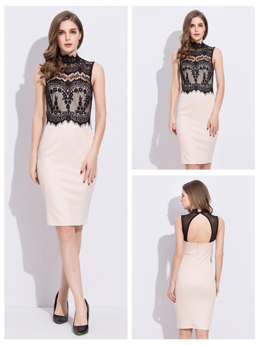 Mariage - High Neckline Sleeveless Lace Bodycon Dress