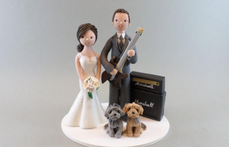 Mariage - Bride and Groom Music Theme with Dogs Personalized Wedding Cake Topper