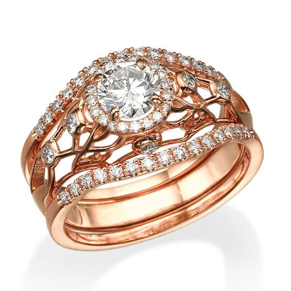 زفاف - Engagement Set, Wedding Set, Rose Gold Ring, Woman Set, 14k Rose Gold Ring, Unique Set, Diamond Set, Rings, Gold Set, Twist Ring