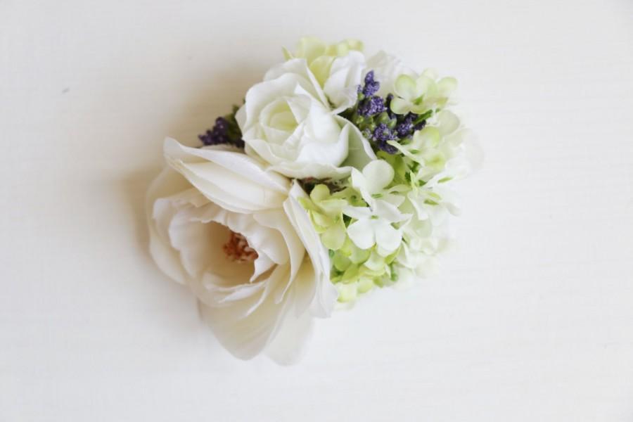 Mariage - Bridal Hair Accessory, white camellia & green hydrangea , Silk Flower Hair clip, Bridesmaid, Rustic Chic Romantic outdoor wedding woodland