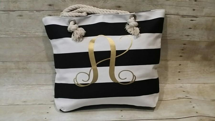 Mariage - Monogrammed Beach Bag - Several colors, Bridal Gift, Monogrammed Tote, Monogrammed Tote Bag, Bridal Party, Beach Bag, Beach Tote, Grey Tote
