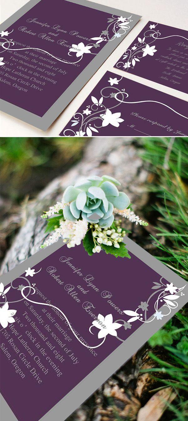 Wedding - Cheap Rustic Floral Plum Wedding Invitations EWI001