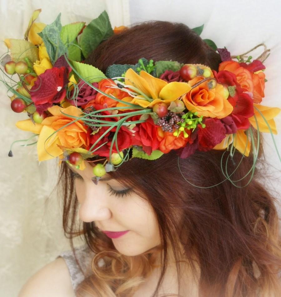 Large flower crown orange wedding head wreath flower headdress large flower crown orange wedding head wreath flower headdress bridesmaid wedding festivals hair fashion accessories rustic wedding izmirmasajfo