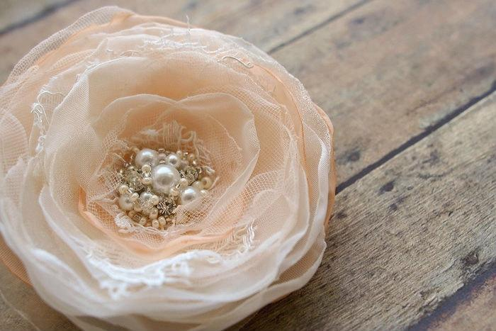 Wedding - Wedding Hairpiece, Bridal Hair Clip, Peach and Ivory Wedding Hair Flower, Bridal Hair Accessories, Bridal Headpiece, Lace Pearls Rhinestones