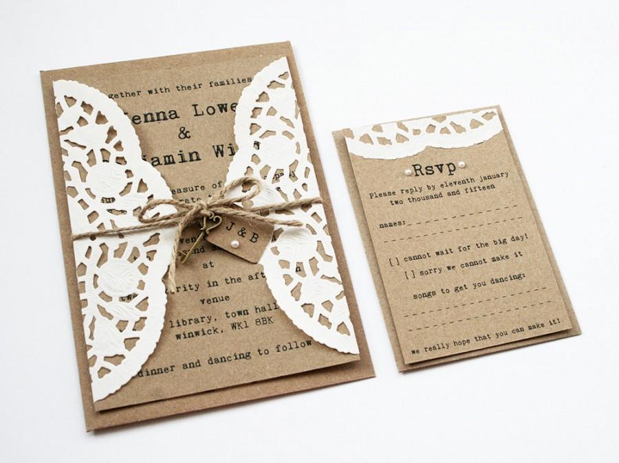 زفاف - Doily Kraft Wedding Invitation Set - Rustic Wedding Invitation, Twine Tied Tag and Pearl Detailing