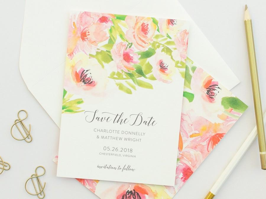 Wedding - Watercolor Save the Date Cards, Watercolor Florals in Pink, Wedding Save the Dates with Tropical Florals, Tropical Weddings