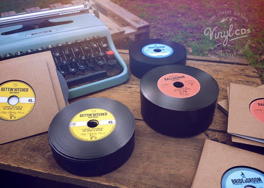 زفاف - Vintage Vinyl Record CD's. Unique Wedding Invites & favors. Combo pack.